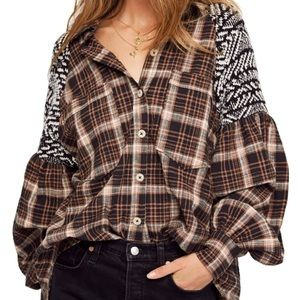 NWT Free People Fireside Nights Button Down